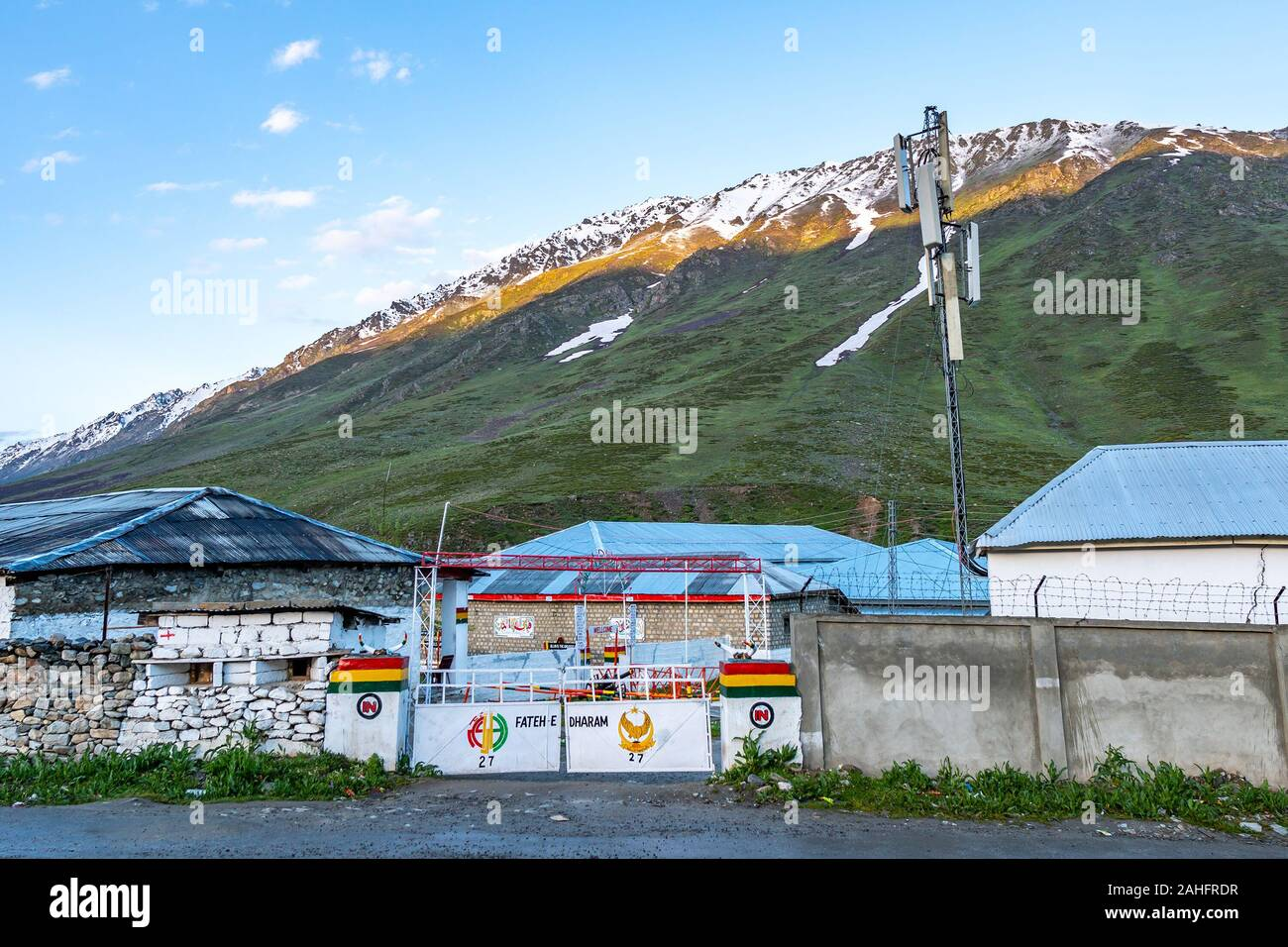 Deosai National Park Chilum Village Picturesque Breathtaking View of Military Camp in the Morning with Blue Sky Stock Photo