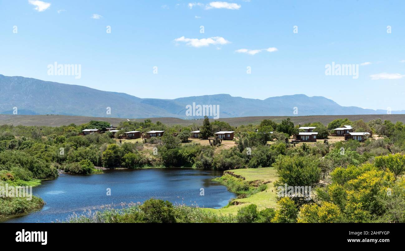 Swellendam, Western Cape, South Africa, December 2019. Campsite on the Breede River viewd from Aloe Hill on the Garden Route. Stock Photo