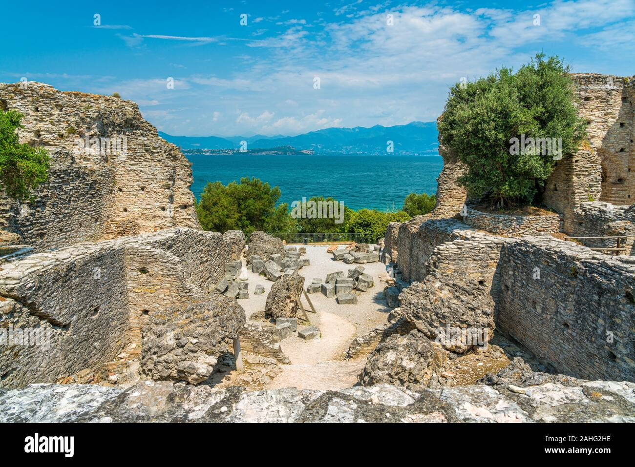 Ruins of Catullo's Villa at Sirmione, on Lake Garda, Province of Brescia, Lombardy, Italy. Stock Photo