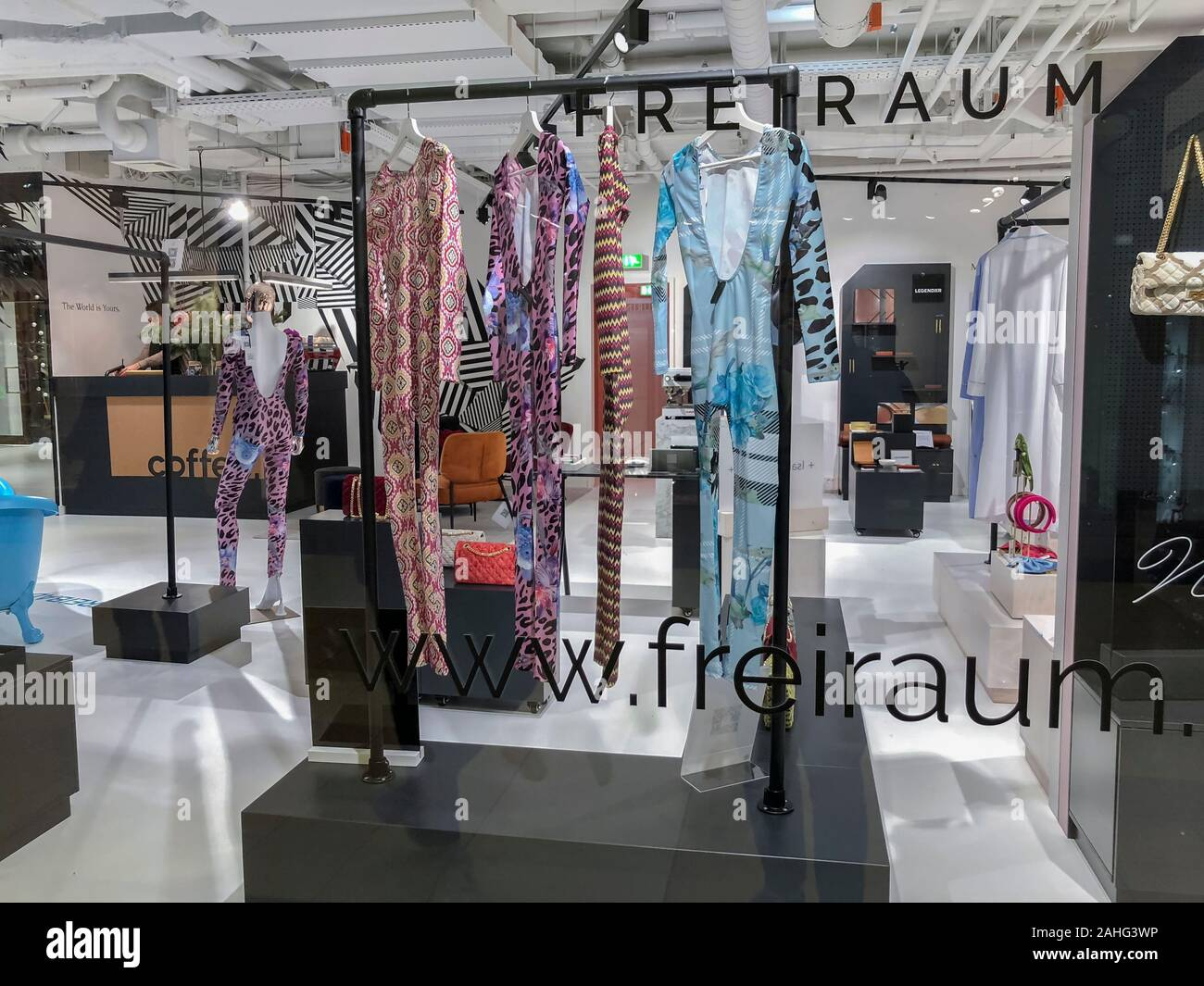 Berlin Germany Concept Store Front Freiraum Local Fashion Designer Hop Window In Modern Shopping Center Quartier 205 Friedrichstadt Stock Photo Alamy
