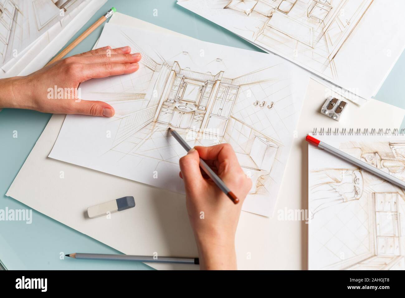 Interior Designer Making Hand Drawing Pencil Sketch Of A Bathroom Interior Design Projects Concept Stock Photo Alamy
