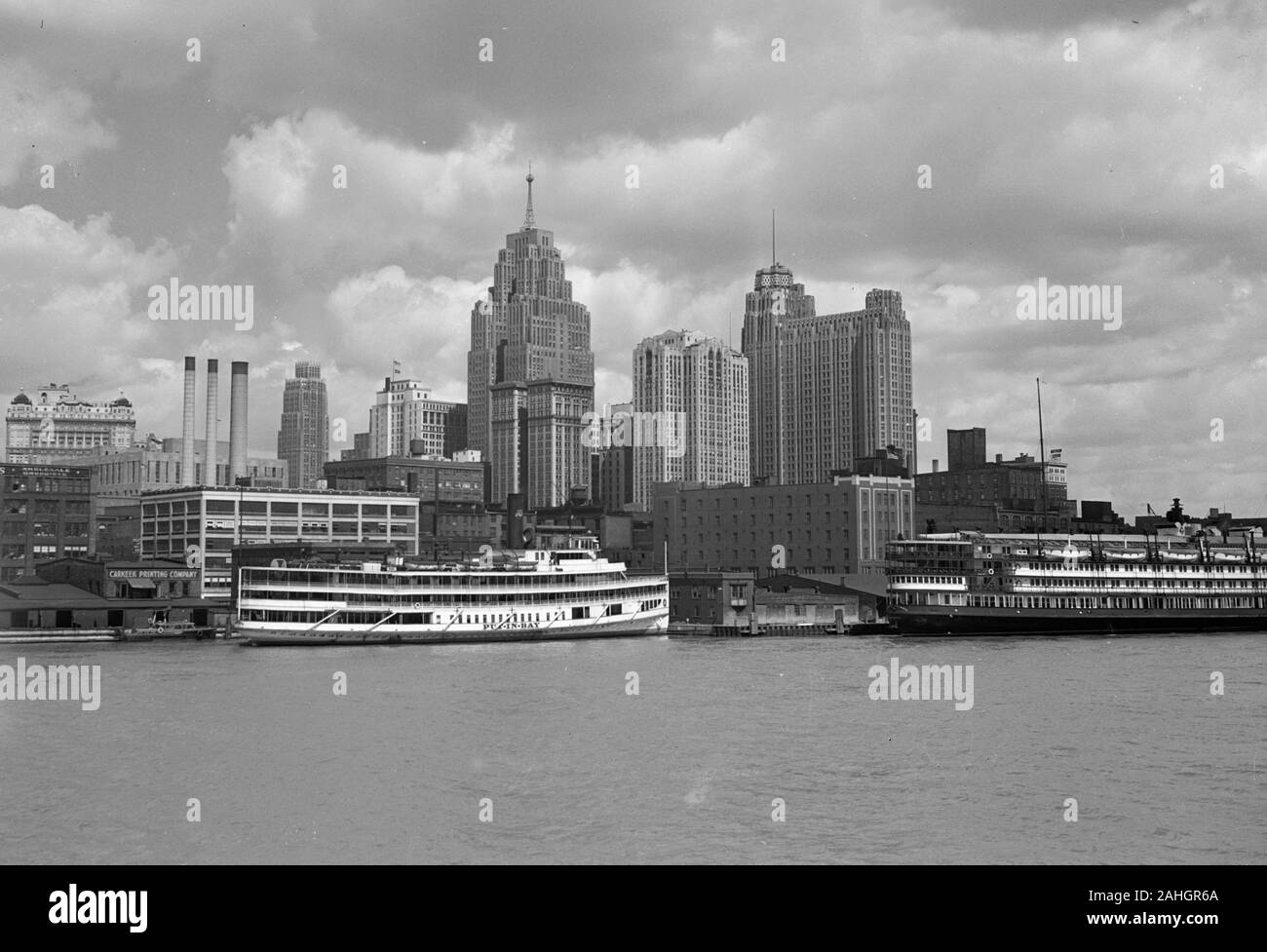 View of Detroit, shot from the deck of the SS North america, probably 1942. Stock Photo
