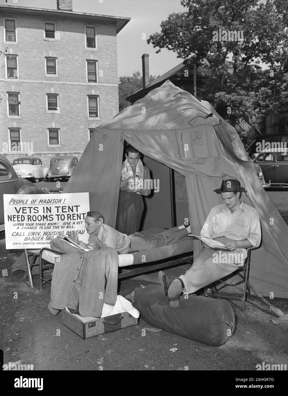 Veterans returning from WWII, without any home to return to. The GI Bill sponsored them to obtain housing. Stock Photo