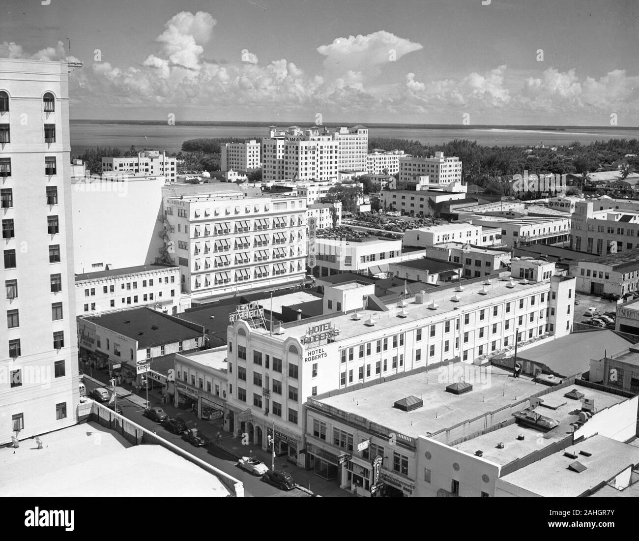 View of the skyline of Miami, 1942. Visible are several buildings such as the Hotel Roberts, the Dallas Park, and Burdine's Stock Photo