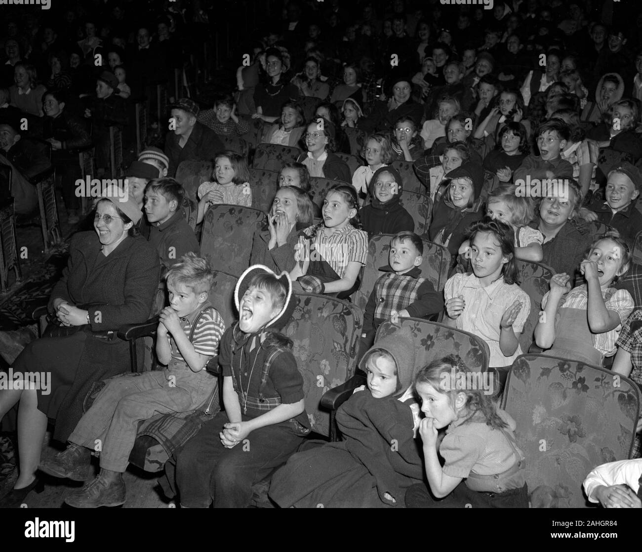 Children at the movies in Madison, wisconsin, 1946 Stock Photo