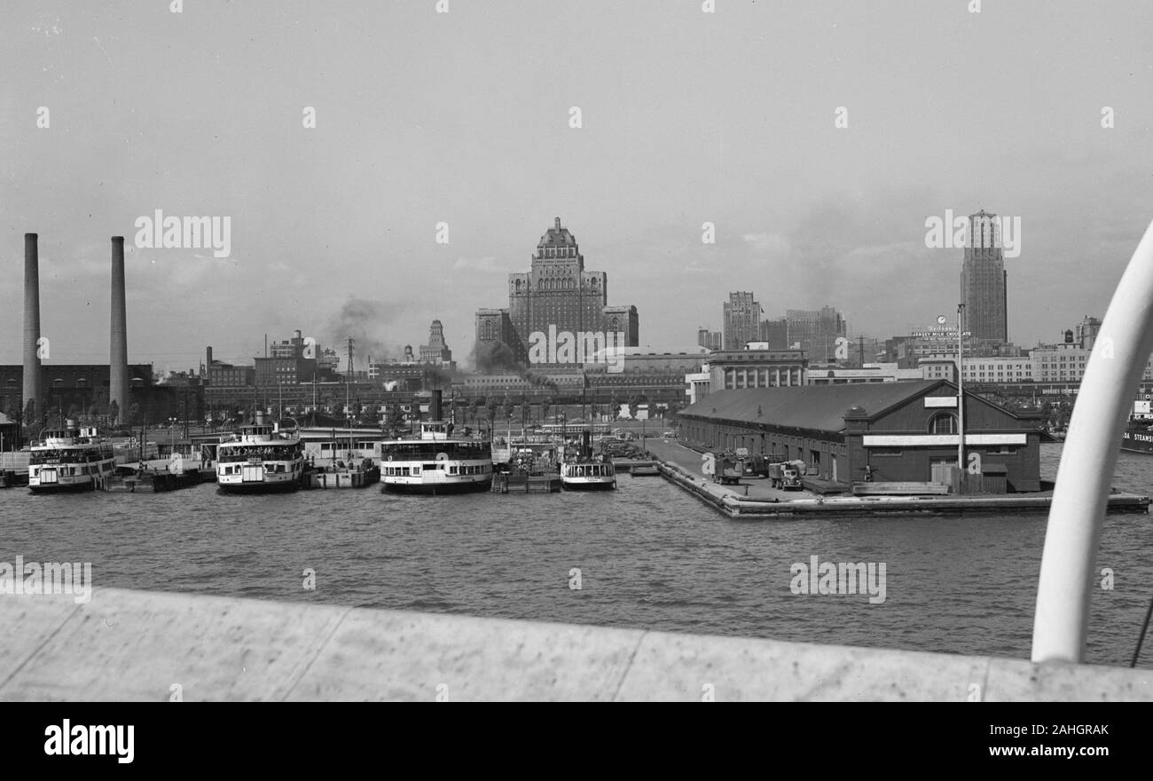 The skyline of Toronto, as seen from the deck of the passenger ship SS North America, 1942 Stock Photo