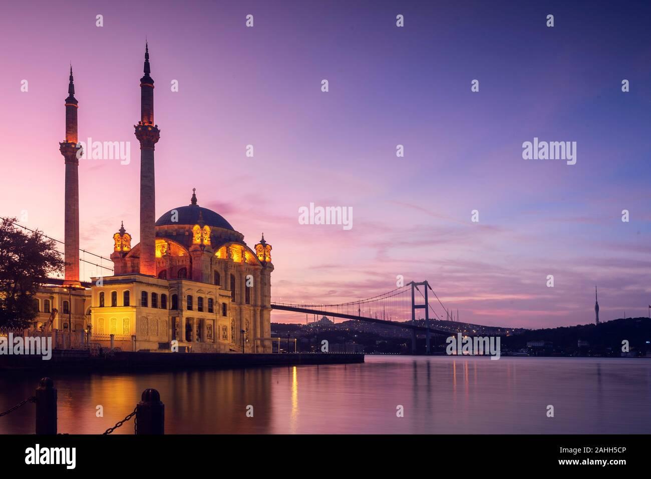 Sunrise view Ortakoy Mosque and Bosphorus Bridge, Best touristic Place of Istanbul. Stock Photo