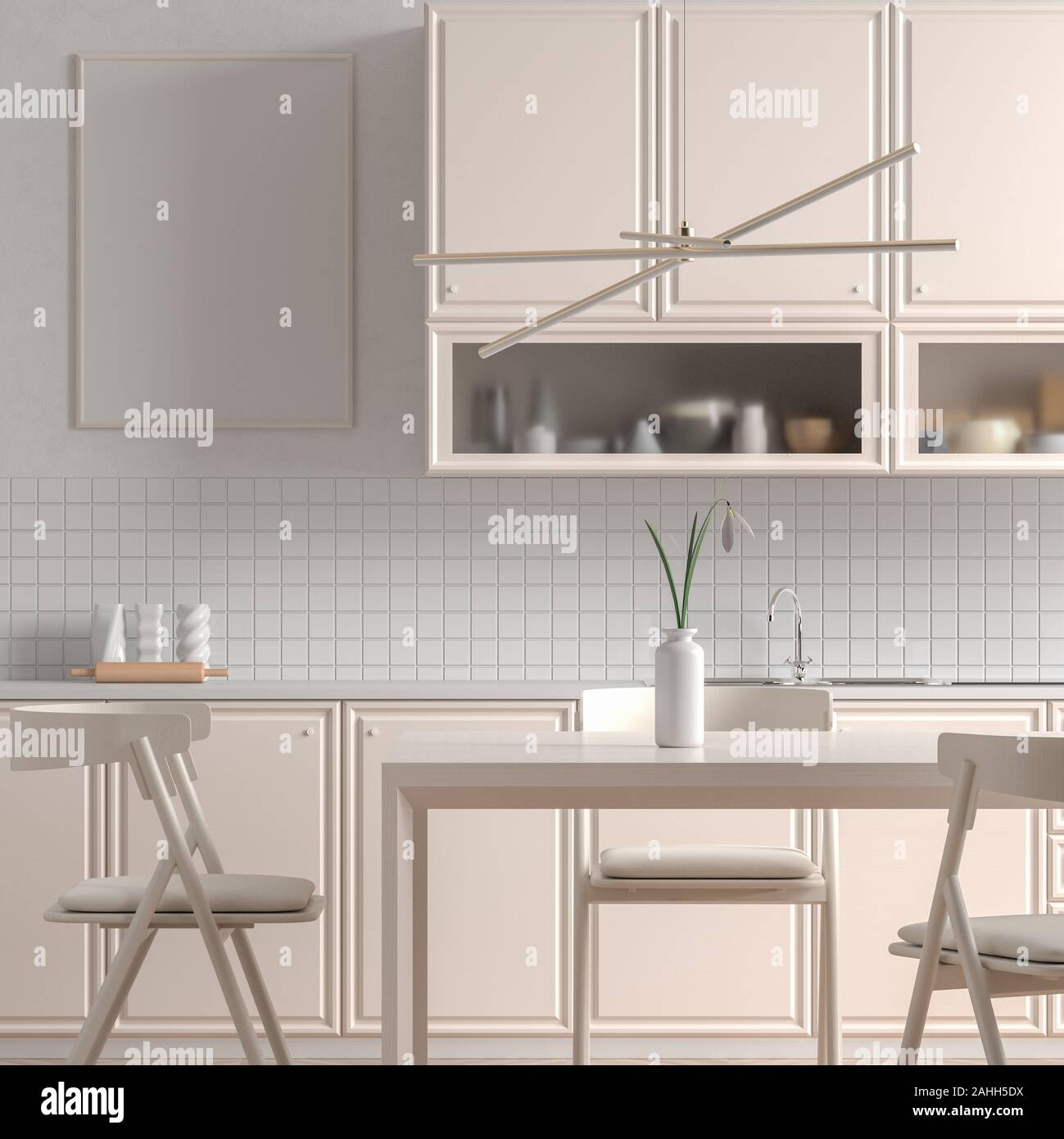 Mock Up Poster Frame In Scandinavian Style Kitchen With Dining Table Minimalist Kitchen Design 3d Illustration Stock Photo Alamy