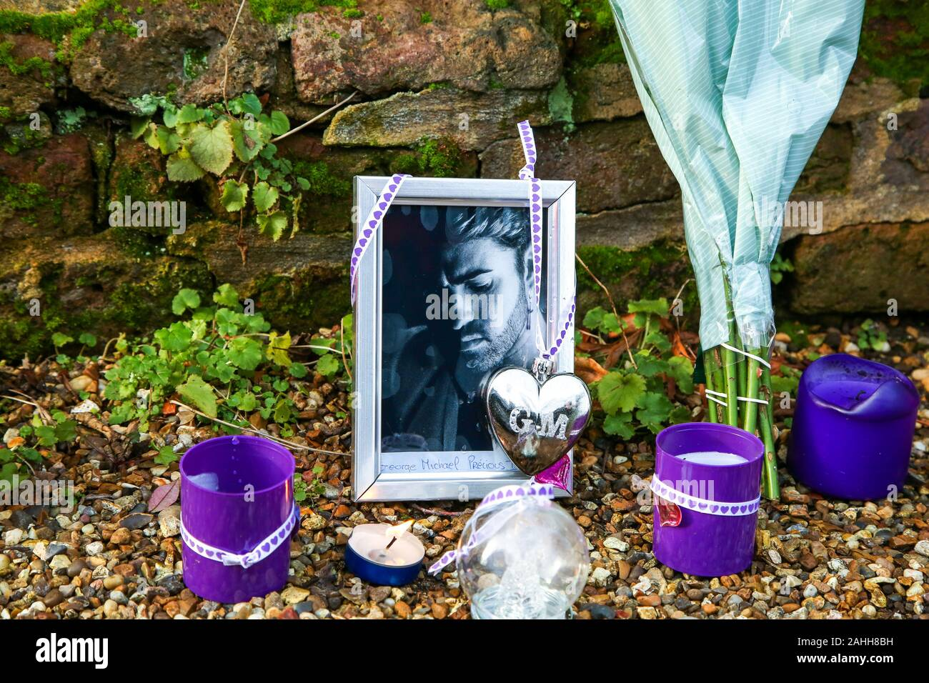 George Michaels Home In Highgate, North London Christmas 2020 Tributes outside George Michael's former house in Highgate, north