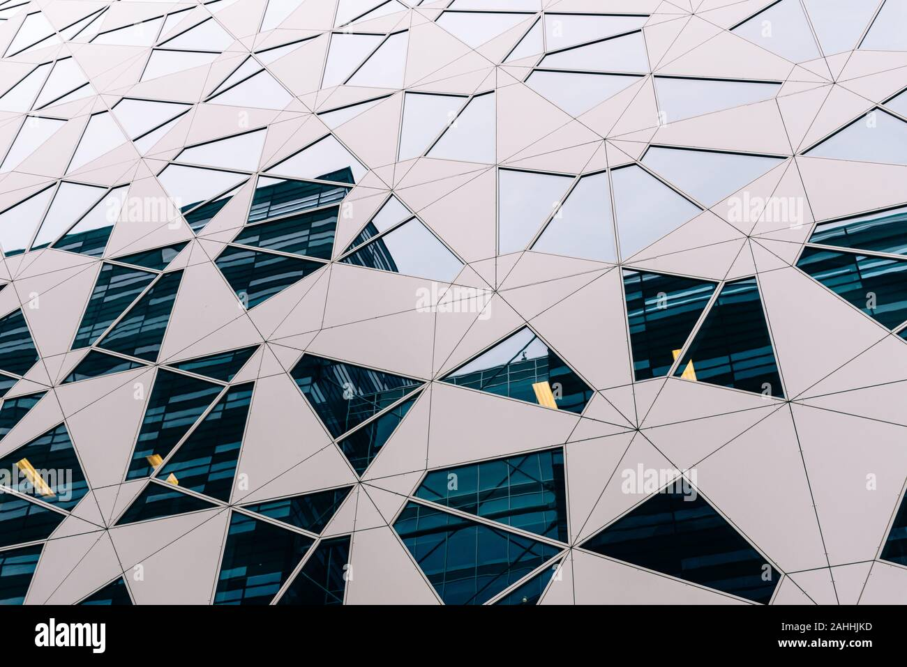 Oslo, Norway - August 11, 2019: Low angle view of modern curtain wall facade in Barcode Project area. Stock Photo