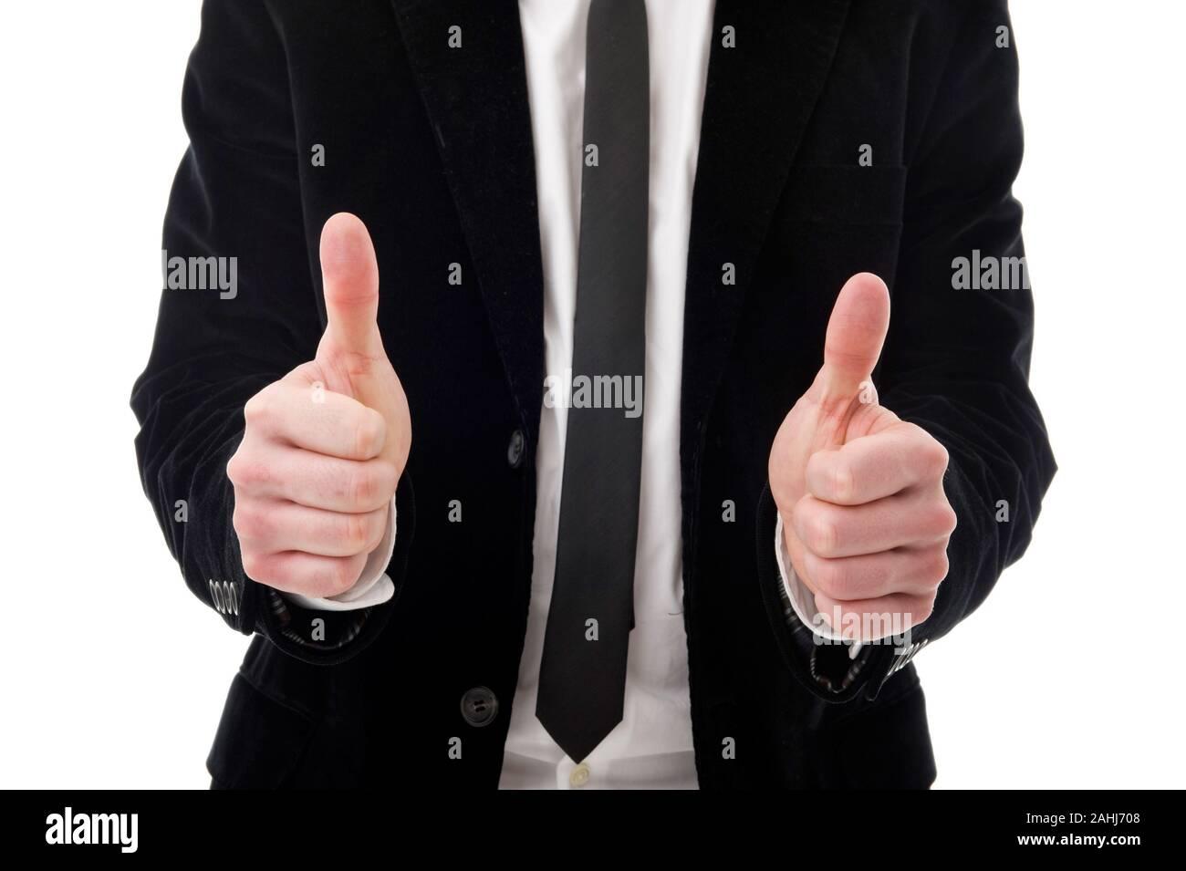 Geschäftsmann, 35 Jahre,  mit erhobenen Daumen, Geste, MR:YES Stock Photo