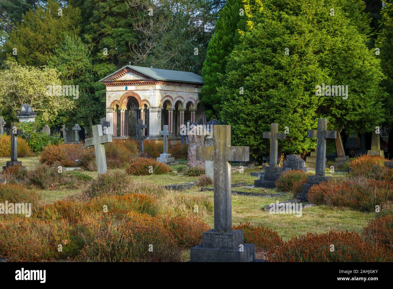 Mausoleum of Sir William Richard Drake in South Cemetery, Brookwood Cemetery, Cemetery Pales, Brookwood, near Woking, Surrey, southeast England, UK Stock Photo
