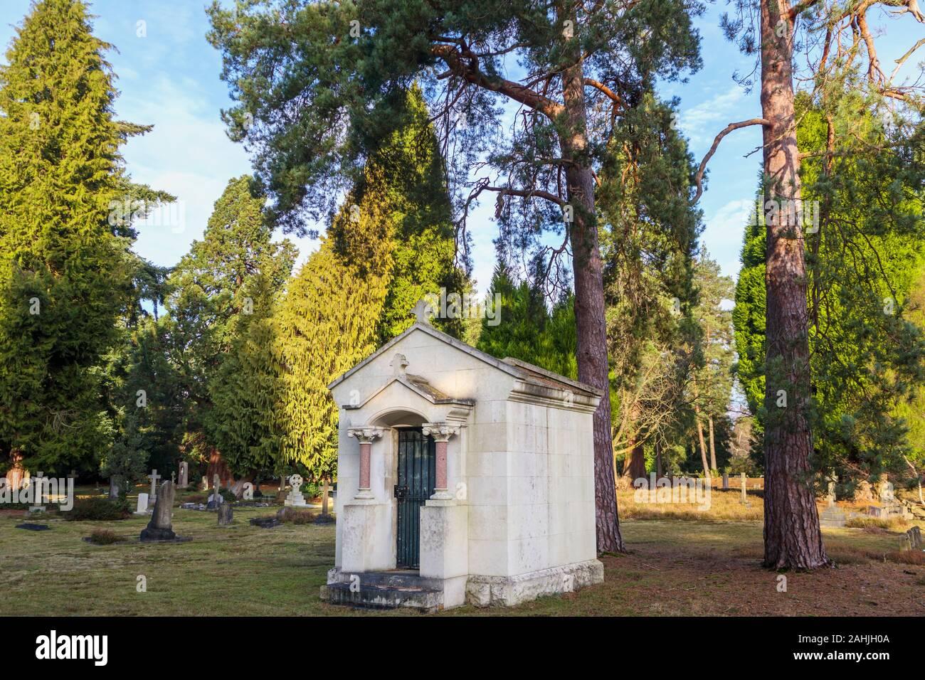 The small Montagu-Winch Mausoleum in South Cemetery, Brookwood Cemetery, Cemetery Pales, Brookwood, near Woking, Surrey, southeast England, UK Stock Photo