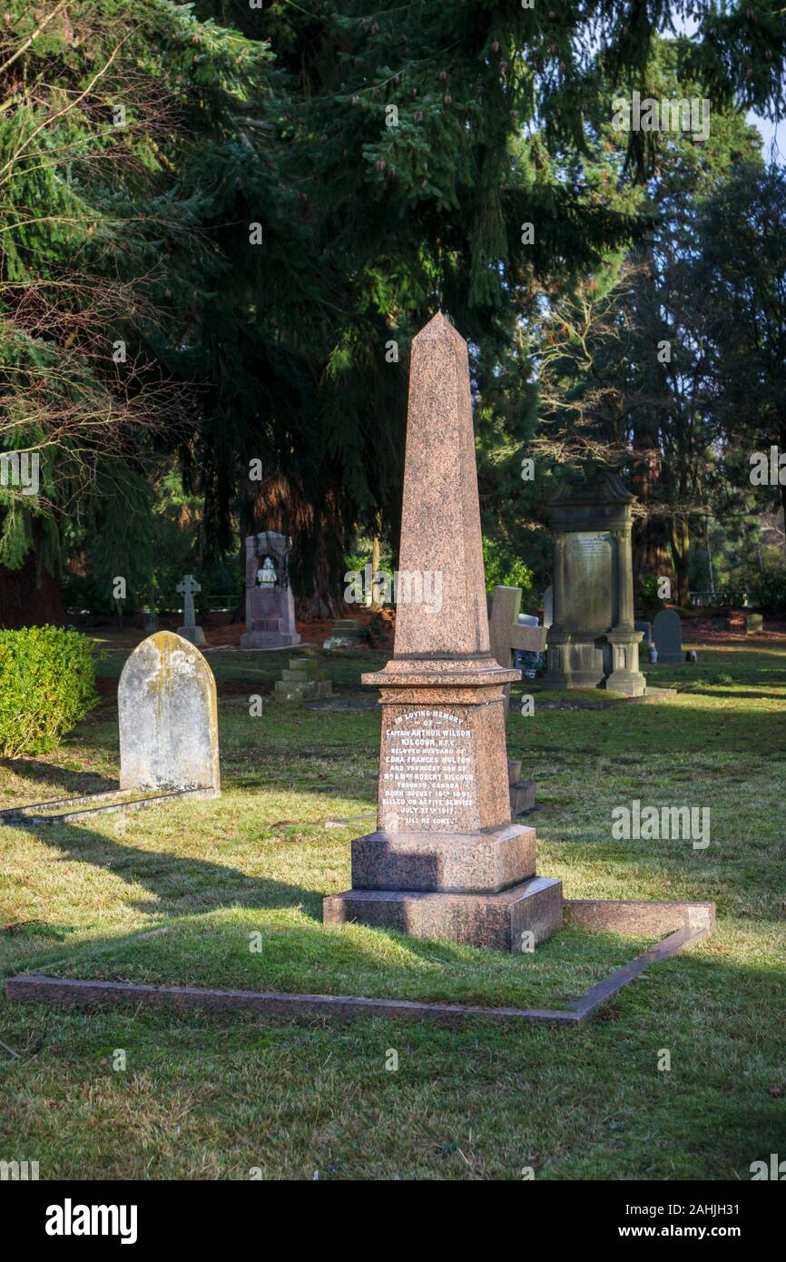 Pink granite obelisk memorial to a Canadian pilot in South Cemetery, Brookwood Cemetery, Cemetery Pales, Brookwood, Woking, Surrey, southeast England Stock Photo