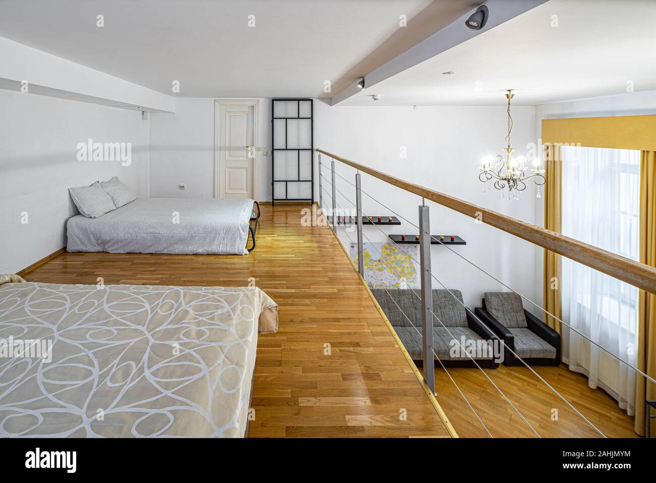 Two Beds On The Second Floor In Private House Modern Interior In Light Tones White Walls Stock Photo Alamy