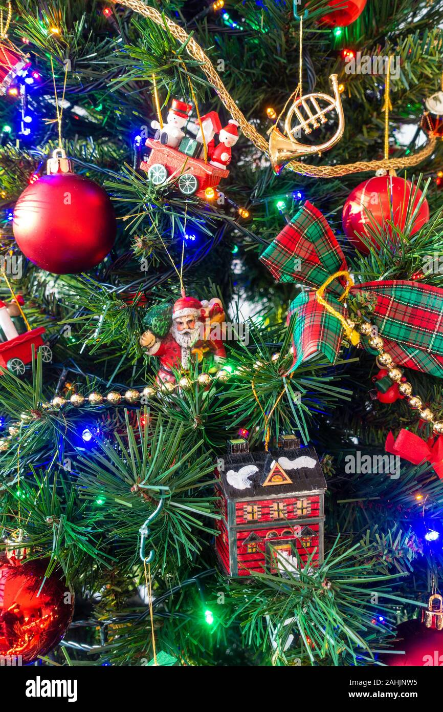 Red Gold And Green Decorations On A Christmas Tree Stock Photo Alamy
