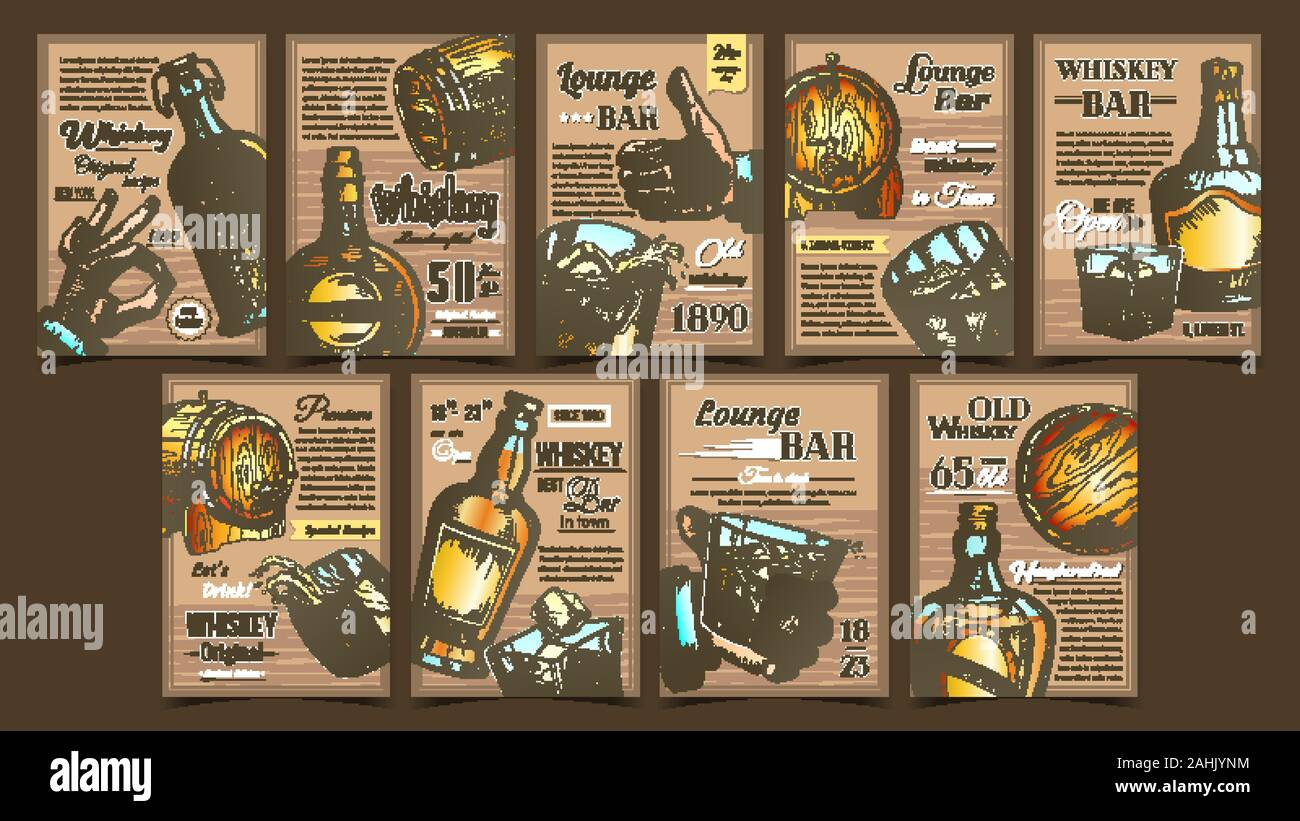 Whiskey Lounge Bar Advertising Posters Set Vector Stock Vector Image Art Alamy