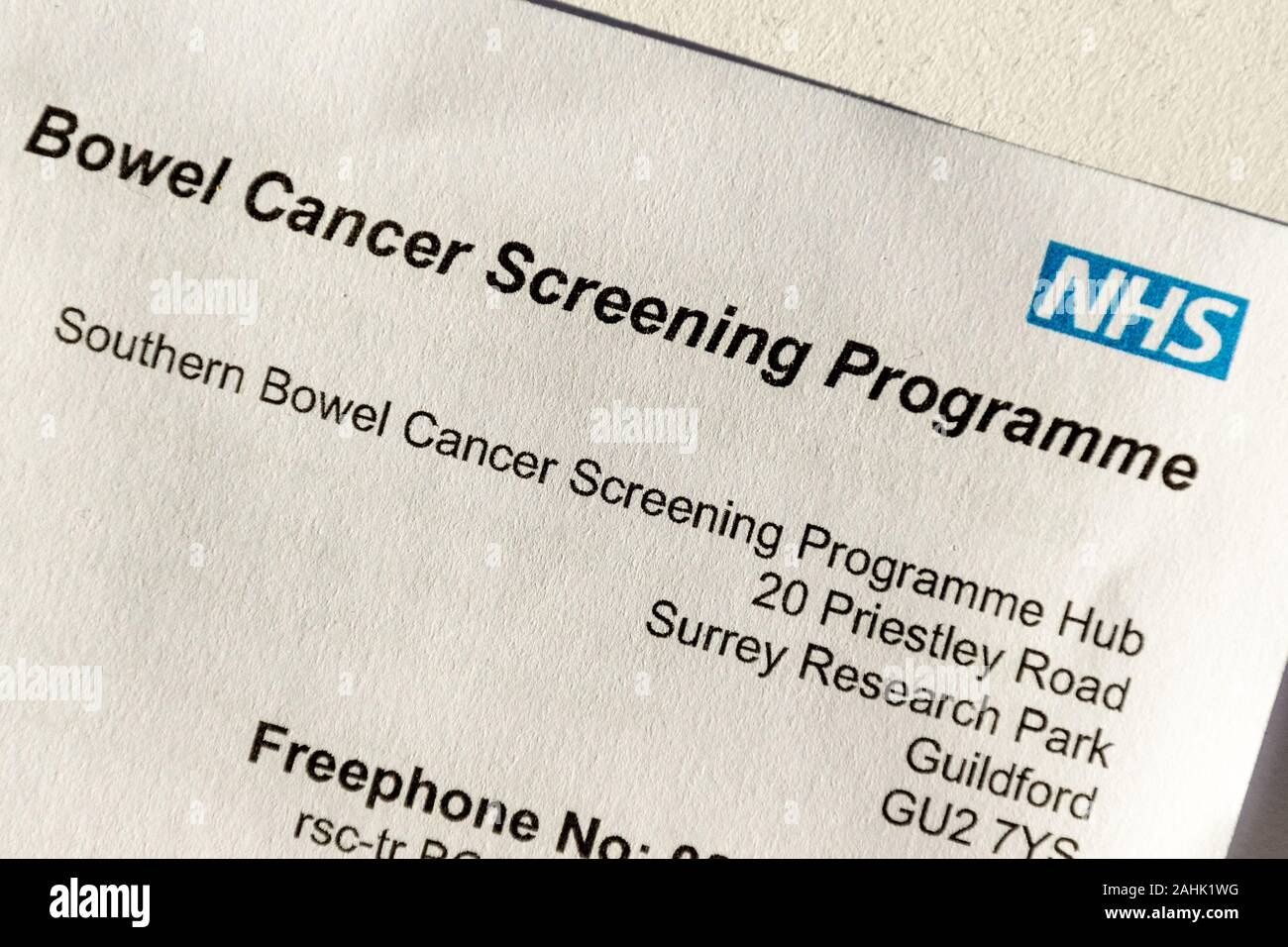 Nhs Bowel Cancer Screening Programme Invitation Letter Stock Photo Alamy