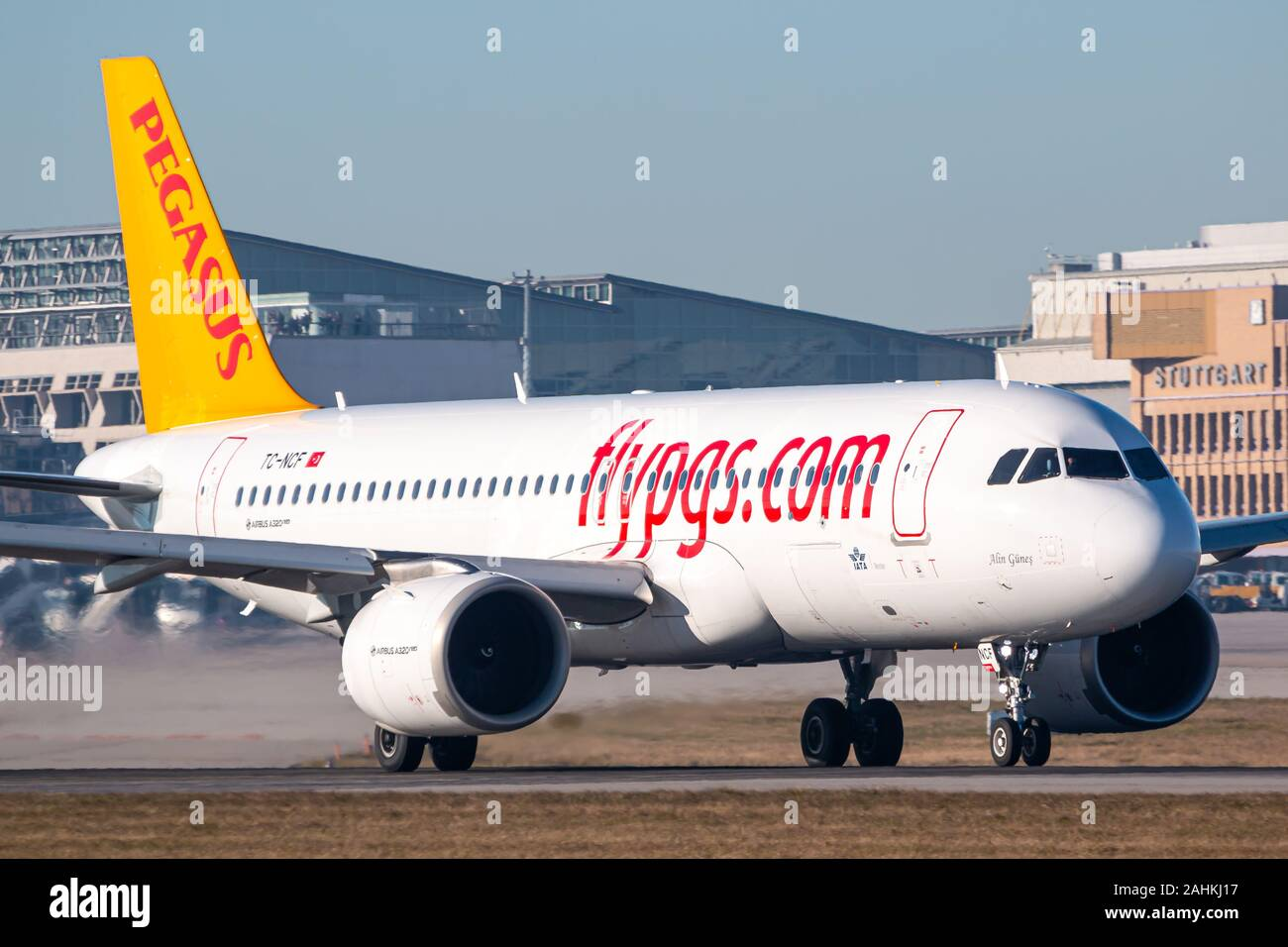 Stuttgart, Germany - December 30, 2019: Fly Pegasus Airlines Airbus A320Neo airplane at Stuttgart airport (STR) in Germany. Airbus is an aircraft manu Stock Photo