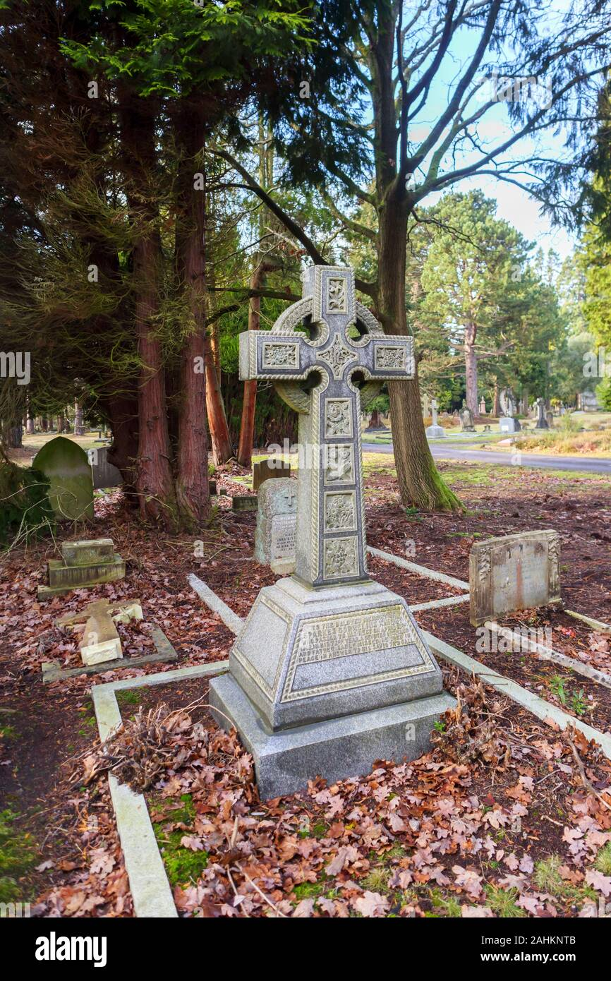 View of South Cemetery and old gravestones and memorials, Brookwood Cemetery, Cemetery Pales, Brookwood, Woking, Surrey, southeast England, UK Stock Photo