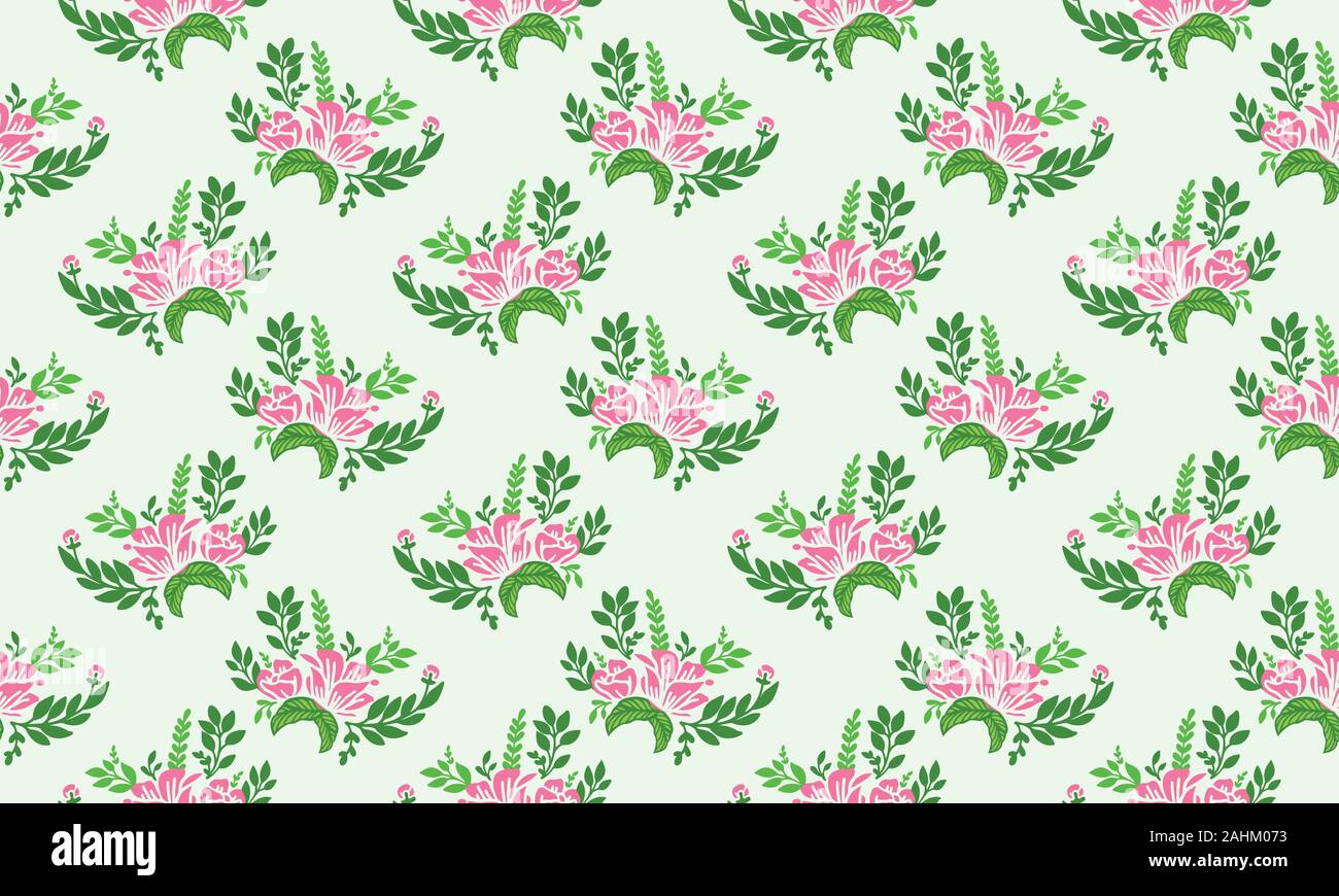 Valentine Floral Pattern Background With Unique Leaf And Cute