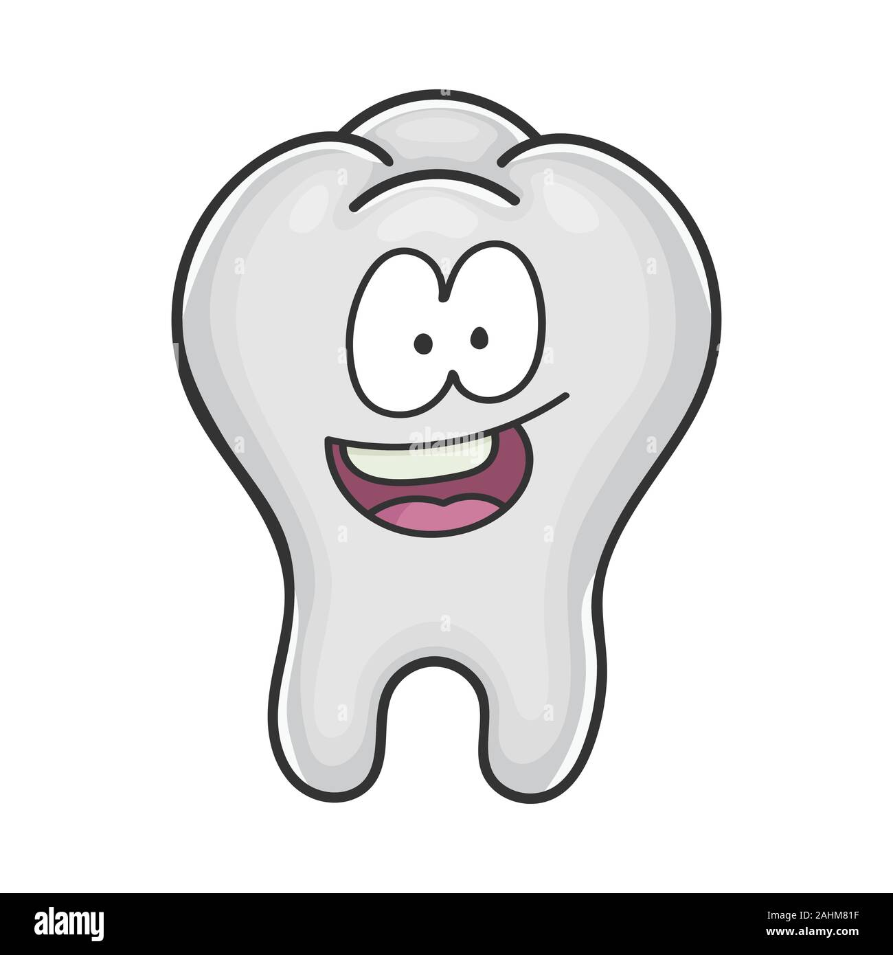 Happy Cute Smiling Tooth Cartoon Isolated On White Stock Vector Image Art Alamy