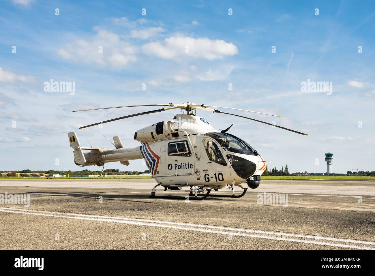A McDonnell Douglas MD902 helicopter of the Belgian Federal Police. Stock Photo