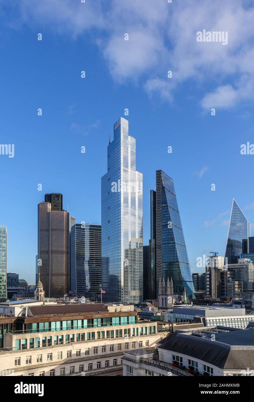 View of 100 Bishopsgate, a new modern office block in the City of London financial district taller than the Cheesegrater, Tower 42 and 100 Bishopsgate Stock Photo