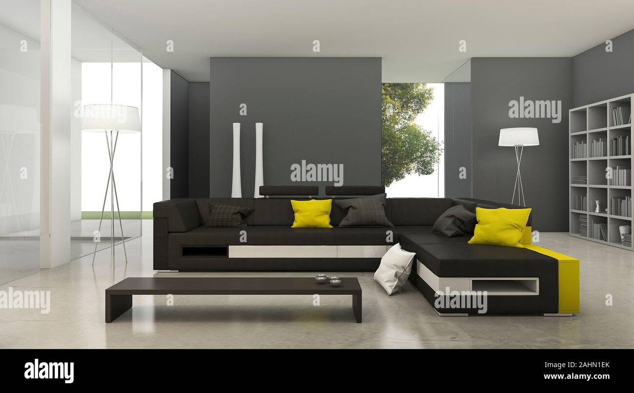 3d Rendering Modern Yellow And Black Fabric Sofa In Bright Living Room Stock Photo Alamy