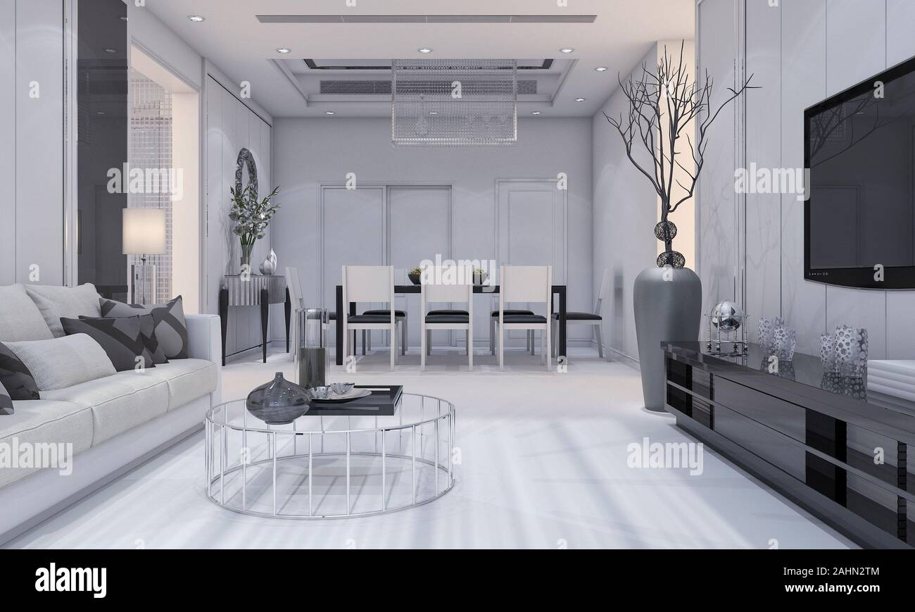 3d Rendering Nice Modern Design Luxury Living Room And Dining Room With Grey Sofa And Tv Shelf And Dining Table Stock Photo Alamy