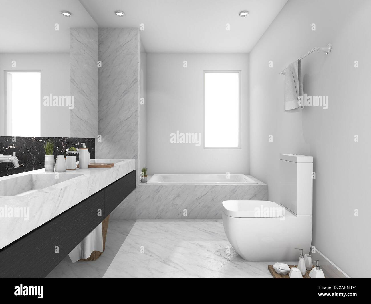 3d Rendering White And Black Marble Toilet And Bathroom Stock Photo Alamy