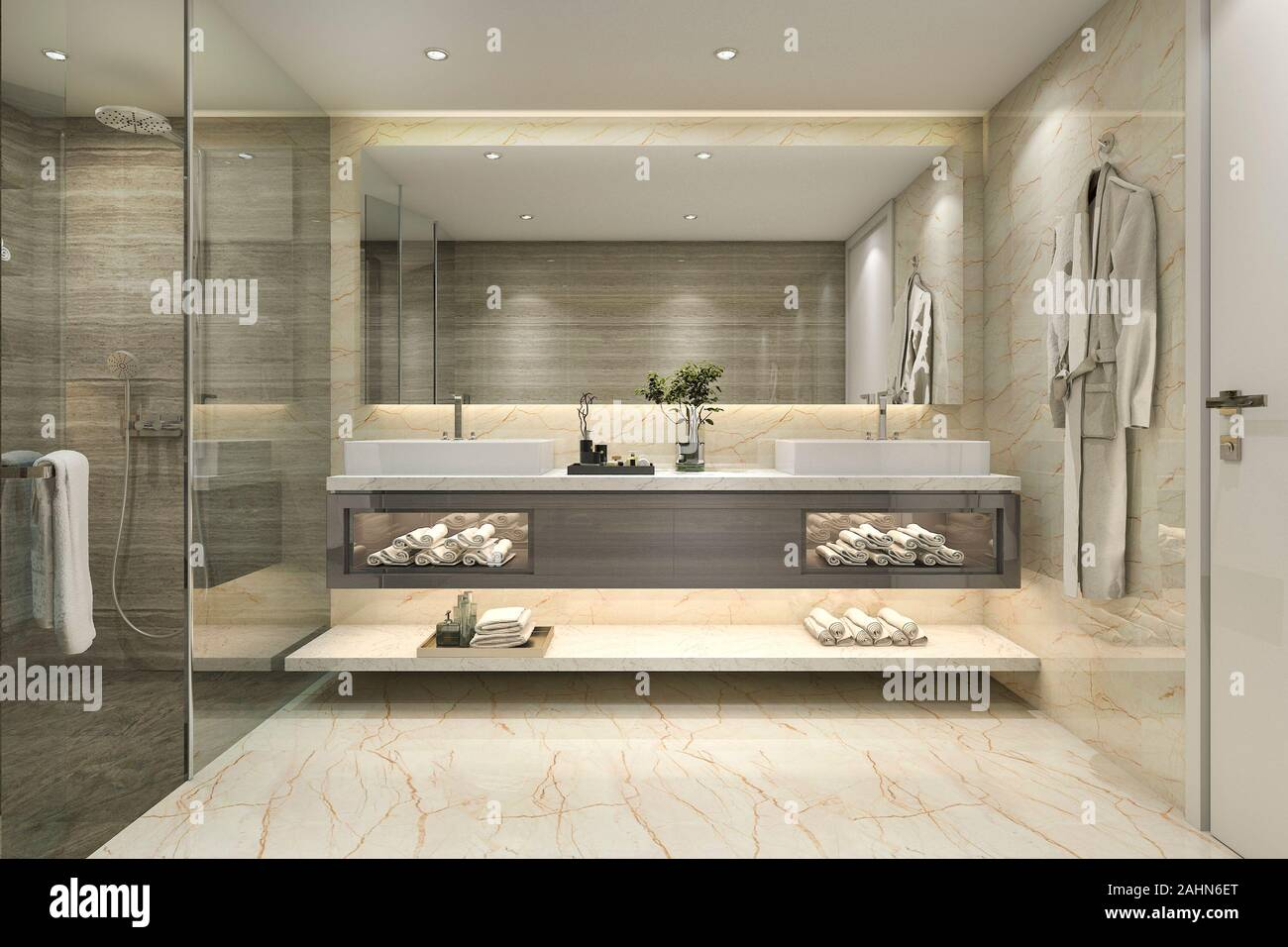 3d Rendering Modern Classic Bathroom With Luxury Tile Decor Stock