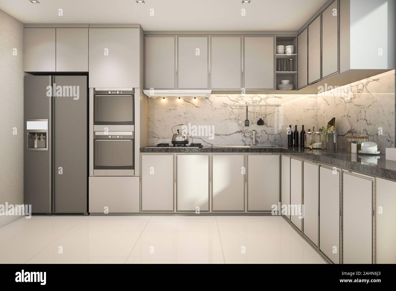 3d Rendering Beautiful Modern Kitchen With Marble Decor Stock Photo Alamy
