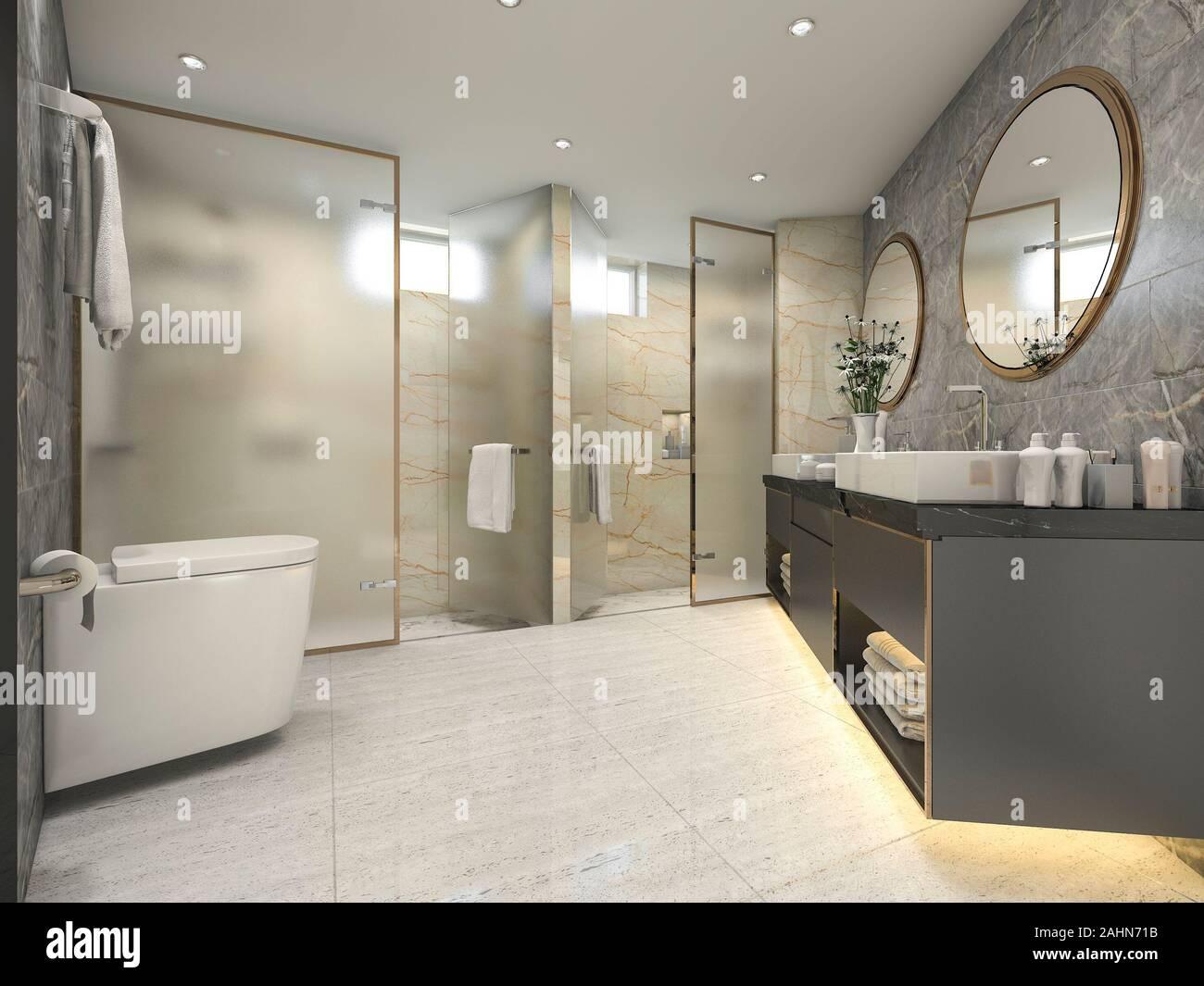 3d Rendering Cream Modern Vintage Bathroom With Luxury Tile Decor Stock Photo Alamy