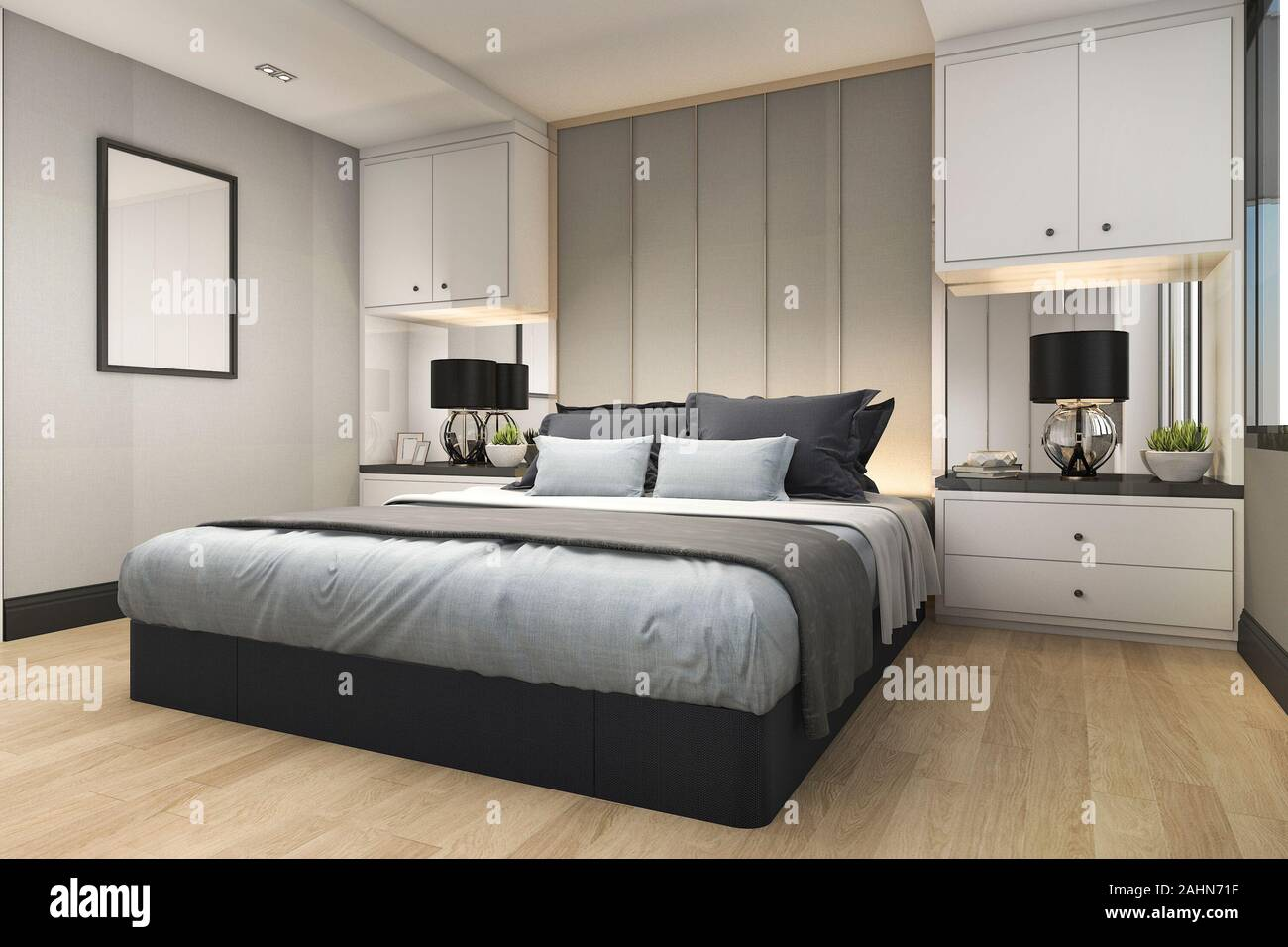 3d Rendering Modern Luxury Blue Bedroom With Marble Decor Stock Photo Alamy