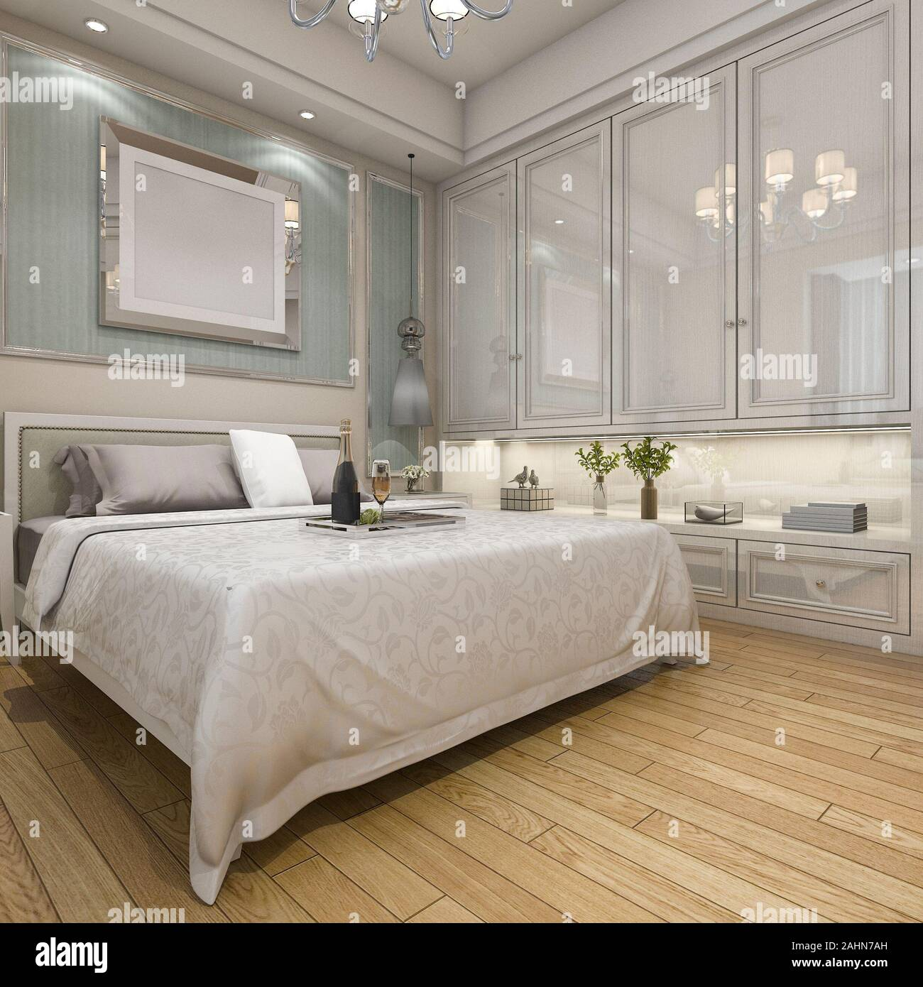3d Rendering Modern Luxury Classic Bedroom With Wood Floor And White Decor Stock Photo Alamy