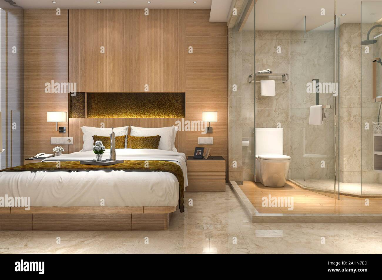 10d rendering modern luxury bedroom suite and bathroom Stock Photo