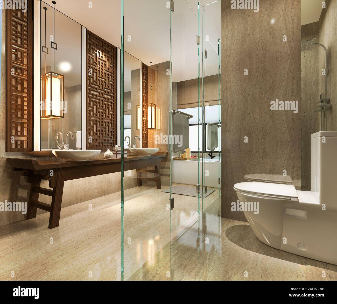 3d Rendering Modern Bathroom With Luxury Tile And Chinese Wall Decor Stock Photo Alamy
