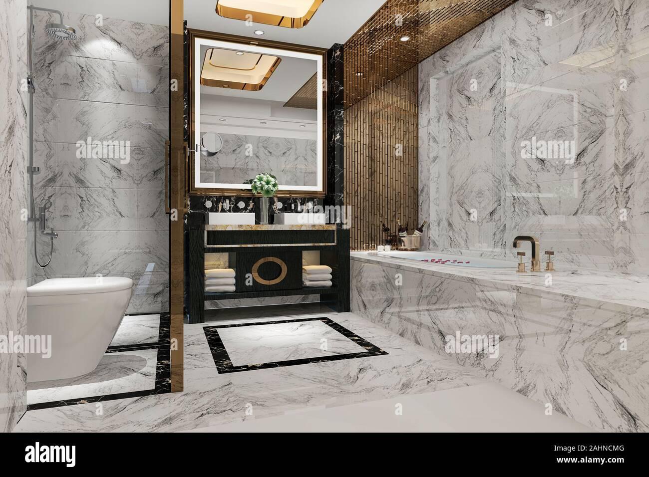 3d Rendering Luxury Modern Design Bathroom And Toilet Stock Photo Alamy