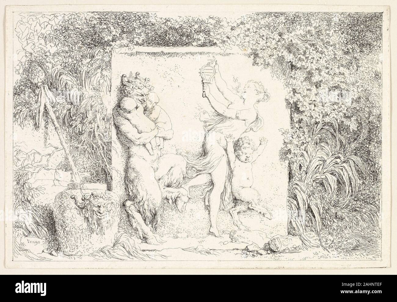 Jean Honoré Fragonard. Satyrs Dancing from Bacchanales, or Satyrs' Games. 1763. France. Etching on ivory laid paper Fragonard may have copied the relief within his Satyrs Dancing from an ancient bacchic sarcophagus. The swaying nymph holds a noise-making rattle, and the artist implies that, however improbably, this sculptural figure has deposited her pinecone-topped thyrsos outside the frame. It leans at a jaunty angle in the bacchic vessel at left, which is decorated with a smirking face and grapevine crown. The thyrsos was one of the wine god Dionysos's main attributes. These figures could w Stock Photo