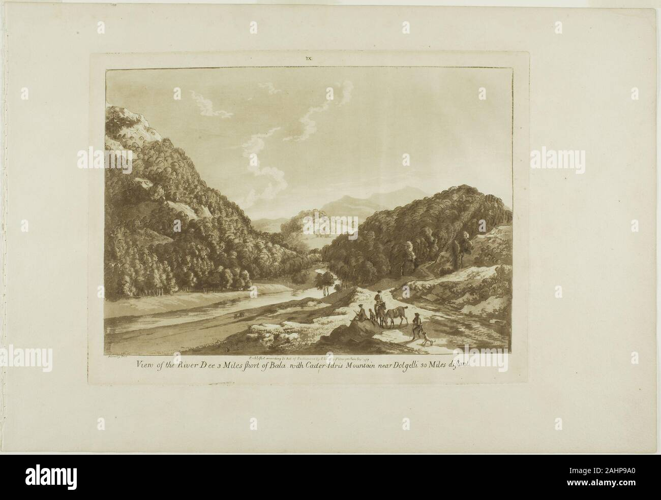 Paul Sandby. View of the River Dee 3 Miles Short of Bala, with Cadar-Idris Mountain near Dolgelli 30 Miles Distant. 1776. England. Aquatint on cream laid paper Stock Photo