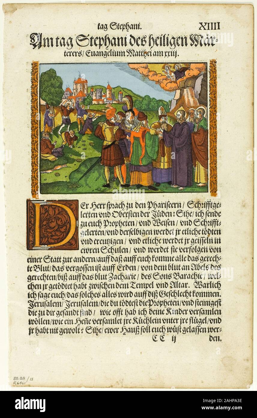 Monogrammist S G New Testament Scene Plate Thirteen From Woodcuts From Books Of The Xvi Century 1582 Germany Woodcut In Black Ink With Brush And Opaque Watercolor And Stenciling On Cream Laid Paper