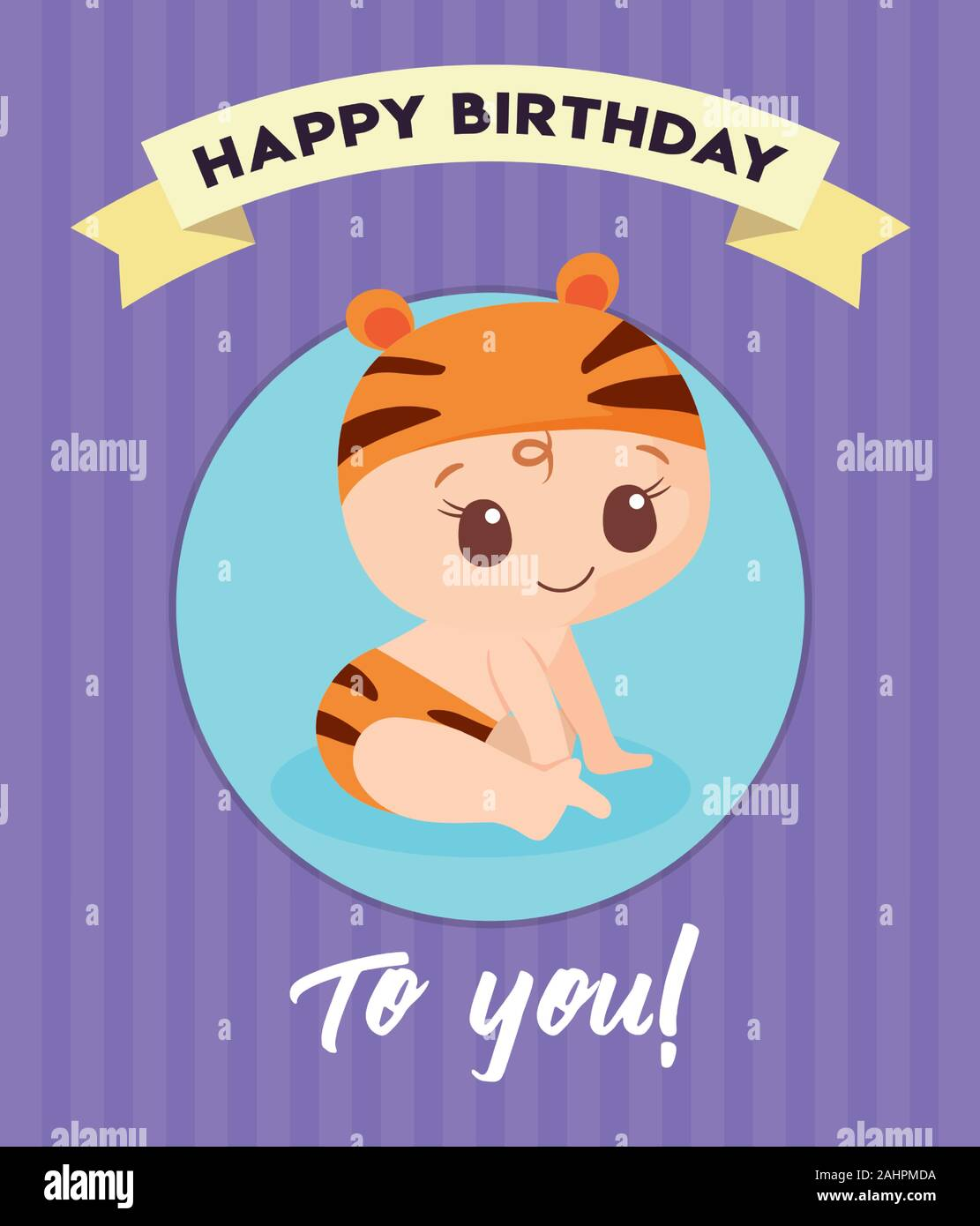 Baby Cartoon Design Happy Birthday Card Celebration