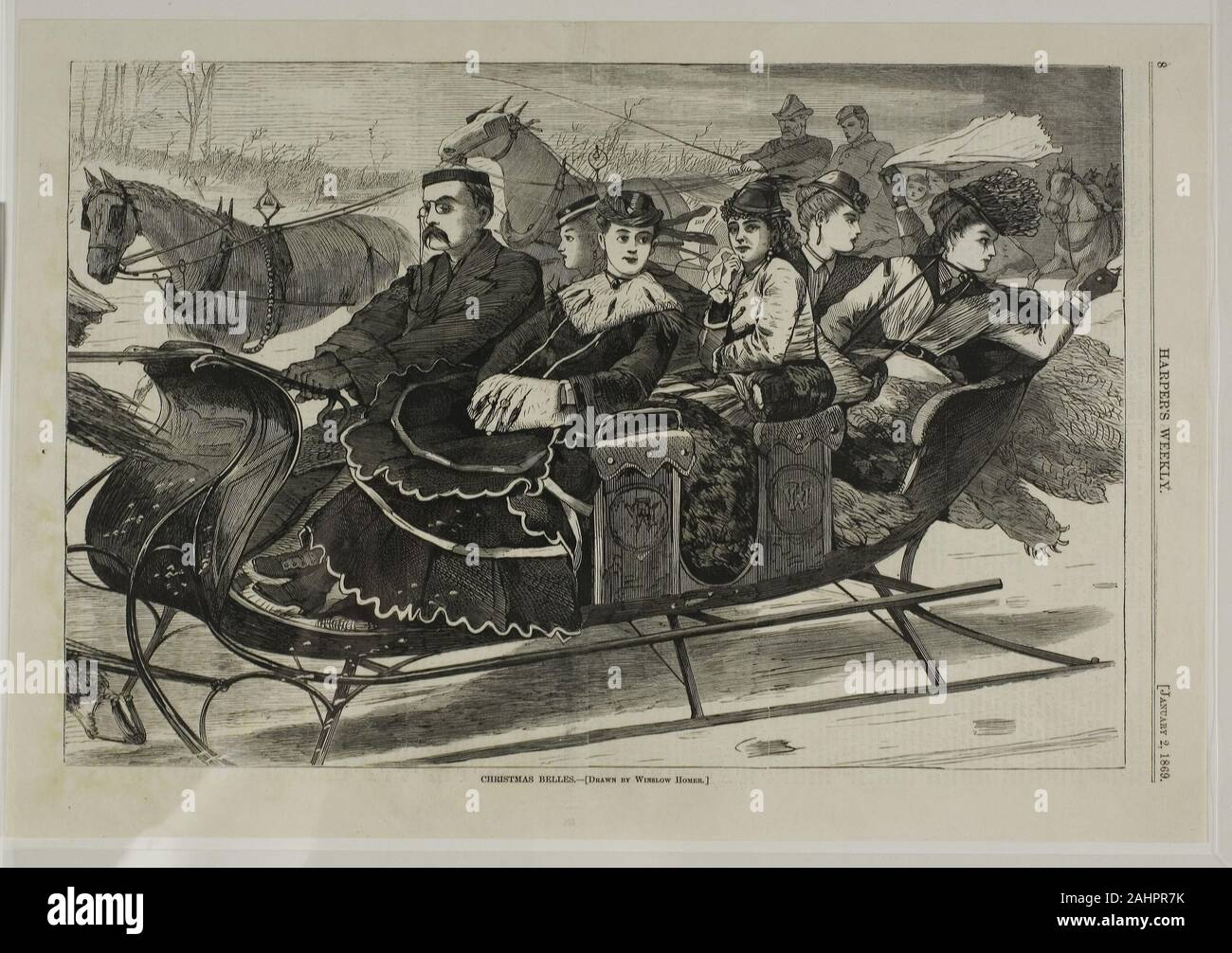 NEGROES GATHERING CHRISTMAS EVERGREENS HORSE SNOW SLED WOODS HARPER/'S WEEKLY