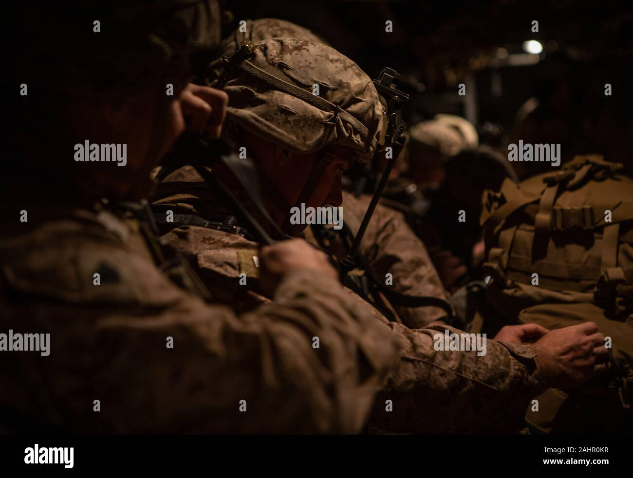 Kuwait. 31st Dec, 2019. U.S. Marines assigned to Special Purpose Marine Air-Ground Task Force-Crisis Response-Central Command (SPMAFTF-CR-CC) 19.2, prepare to deploy from Kuwait in support of a crisis response mission in Baghdad, Iraq, on December 31, 2019. The SPMAGTF-CR-CC is designed to move with speed and precision to support operations throughout the Middle East. Photo by Sgt. Robert Gavaldon/U.S. Marine Corps/UPI Credit: UPI/Alamy Live News Stock Photo