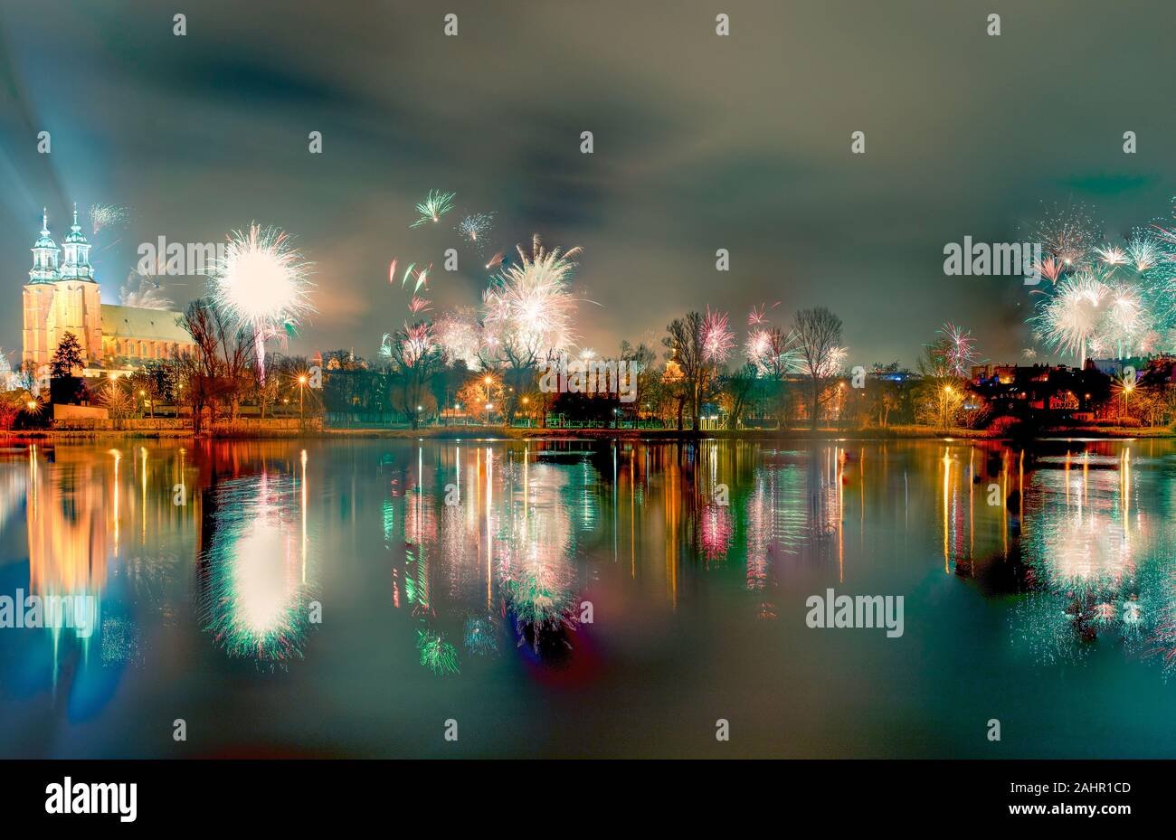 New Year Fireworks Over Gniezno Poland Night View To The Gothic Cathedral Upon The Lake Winter 2020 Stock Photo 337952173 Alamy
