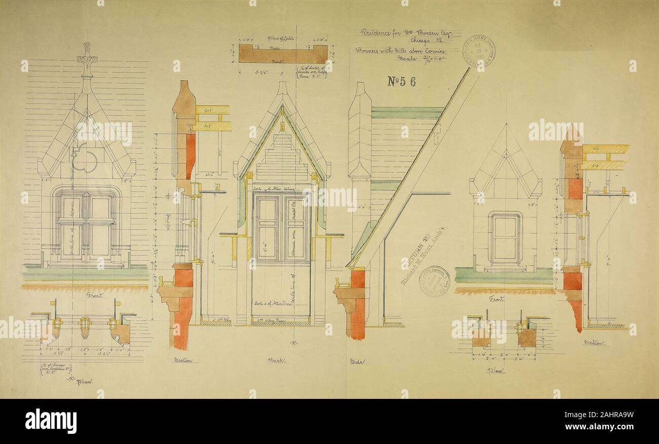 Richard Morris Hunt (Architect). William Borden Residence, Chicago, Illinois, Dormer Details. 1885–1886. Chicago. Watercolor on hectographic print, mounted on linen Stock Photo