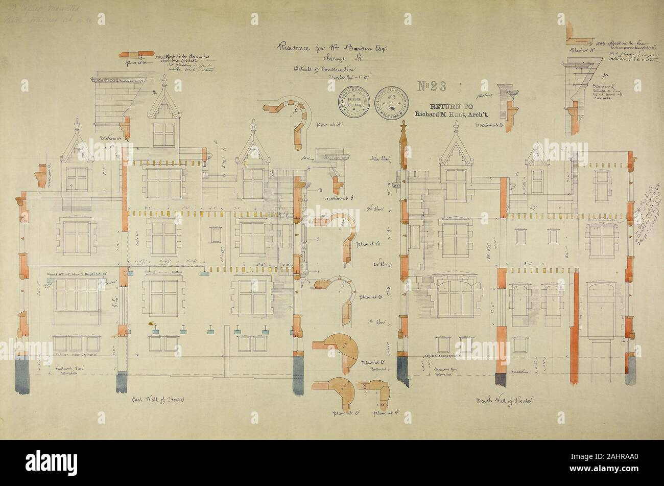 Richard Morris Hunt (Architect). William Borden Residence, Chicago, Illinois, Construction Details. 1885–1886. Chicago. Watercolor on hectographic print, mounted on linen Stock Photo