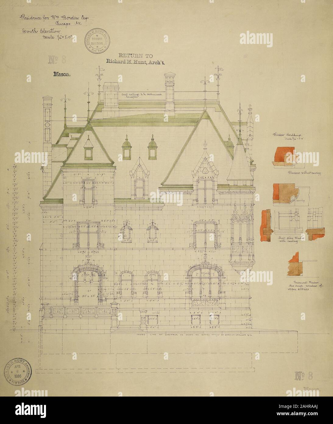 Richard Morris Hunt (Architect). William Borden Residence, Chicago, Illinois, South Elevation. 1886. Chicago. Watercolor on hectographic print, mounted on linen Stock Photo