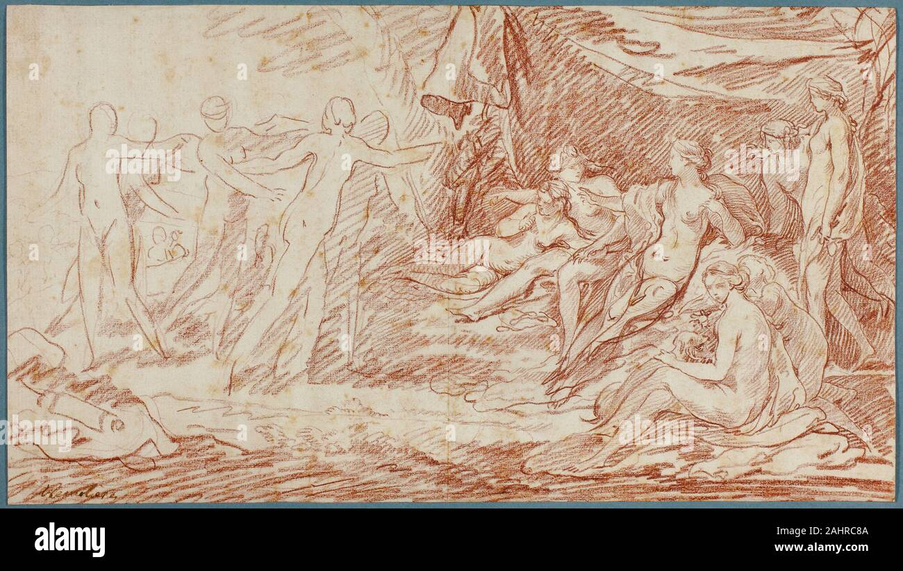 Pierre Charles Trémolières. The Bath of Diana. 1728–1739. France. Red chalk on ivory laid paper, laid down on cream laid paper Stock Photo